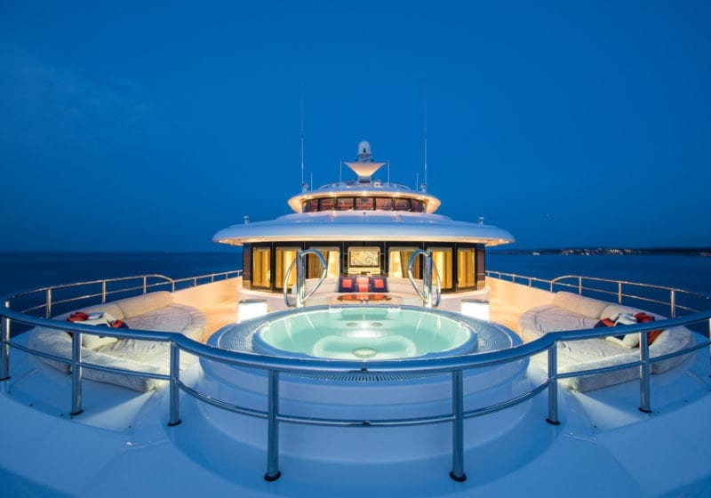 Jacuzzi on the top deck of the Arience