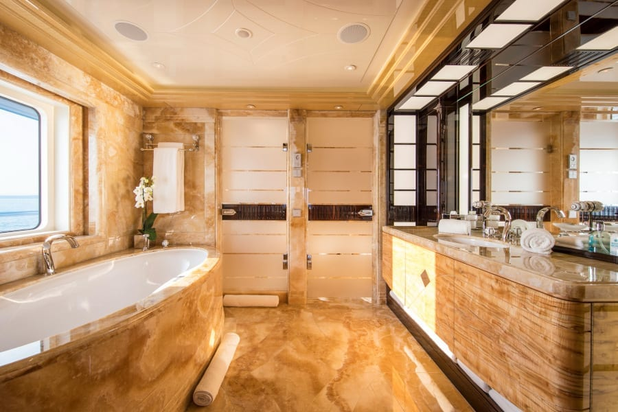 Bathroom on board the Arience yacht
