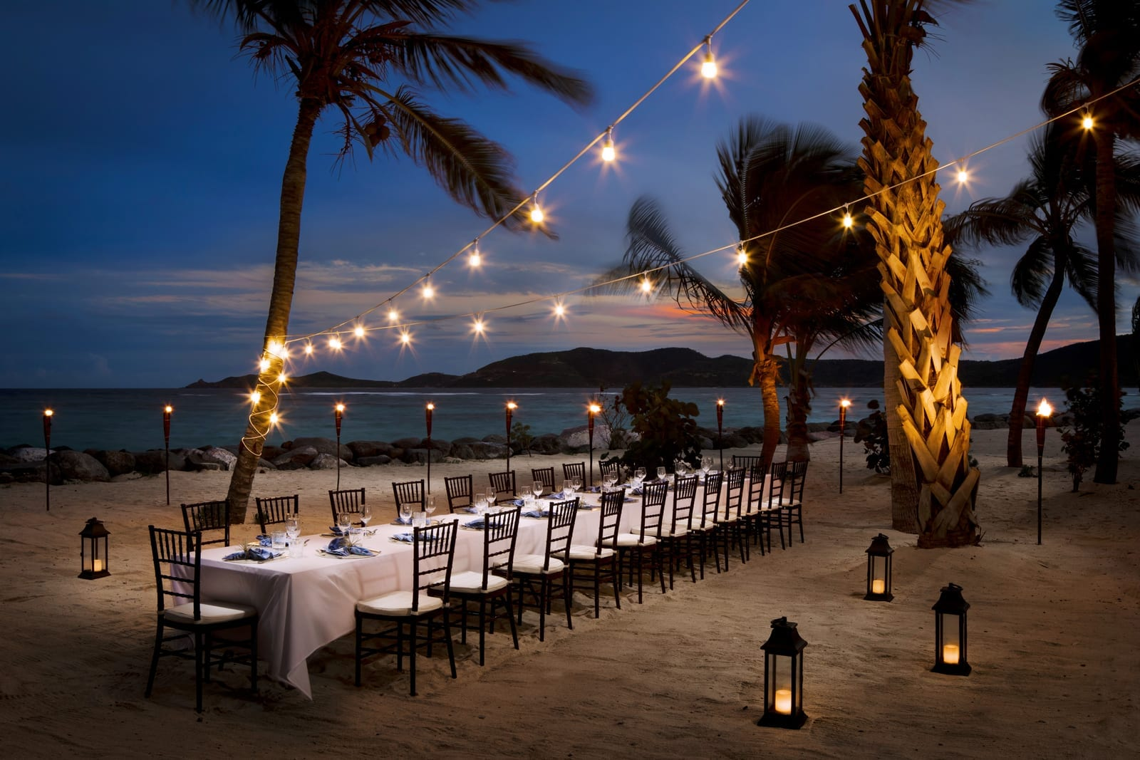 Beach Pavilion Outdoor Dining at Night Necker Island British Virgin Islands