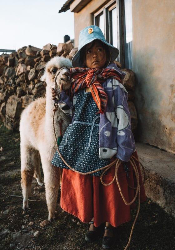 Bolivia Titicaca Lake Locals and Alpaca