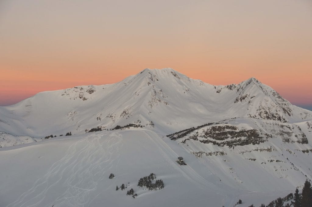 Colorado Snowy Mountains at Sunset USA