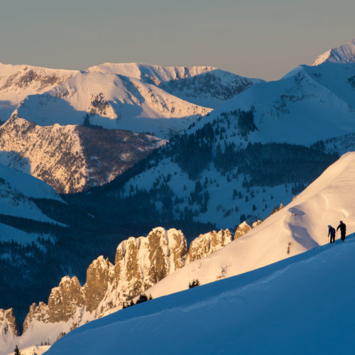 Colorado Skiing at Sunset in the Mountain Snow USA
