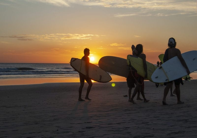 Surfing at Sunset in Costa Rica
