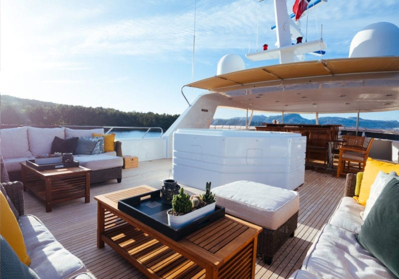 Seating area and Jacuzzi on the top deck
