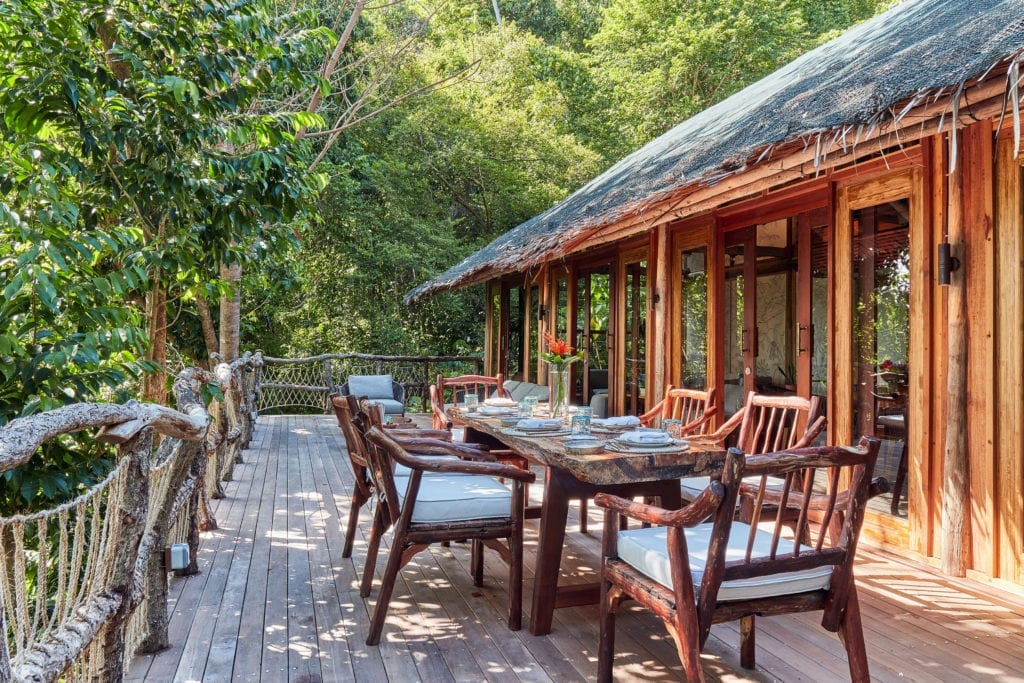 Dining on Deck at Jungle Lodge Bawah Reserve Indonesia