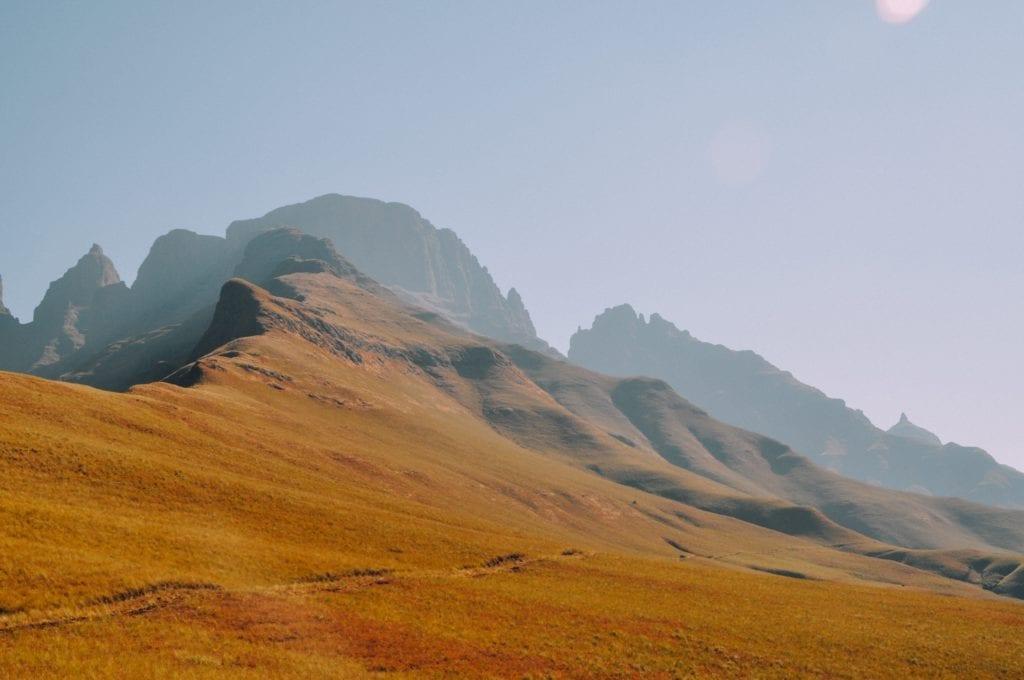 red hued Drakensburg mountains