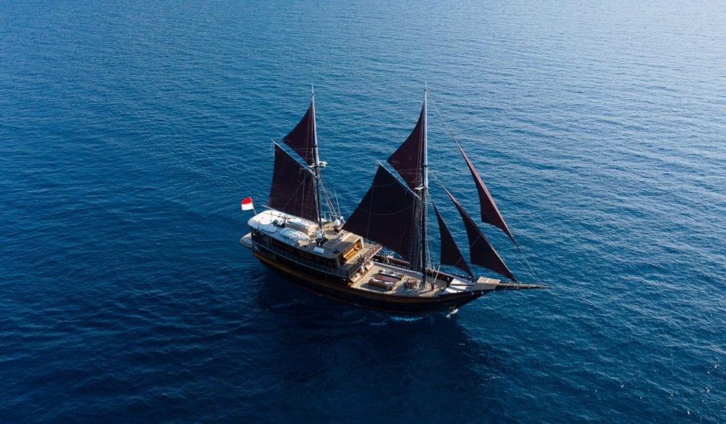 Aerial view of the Dunia Baru sailing