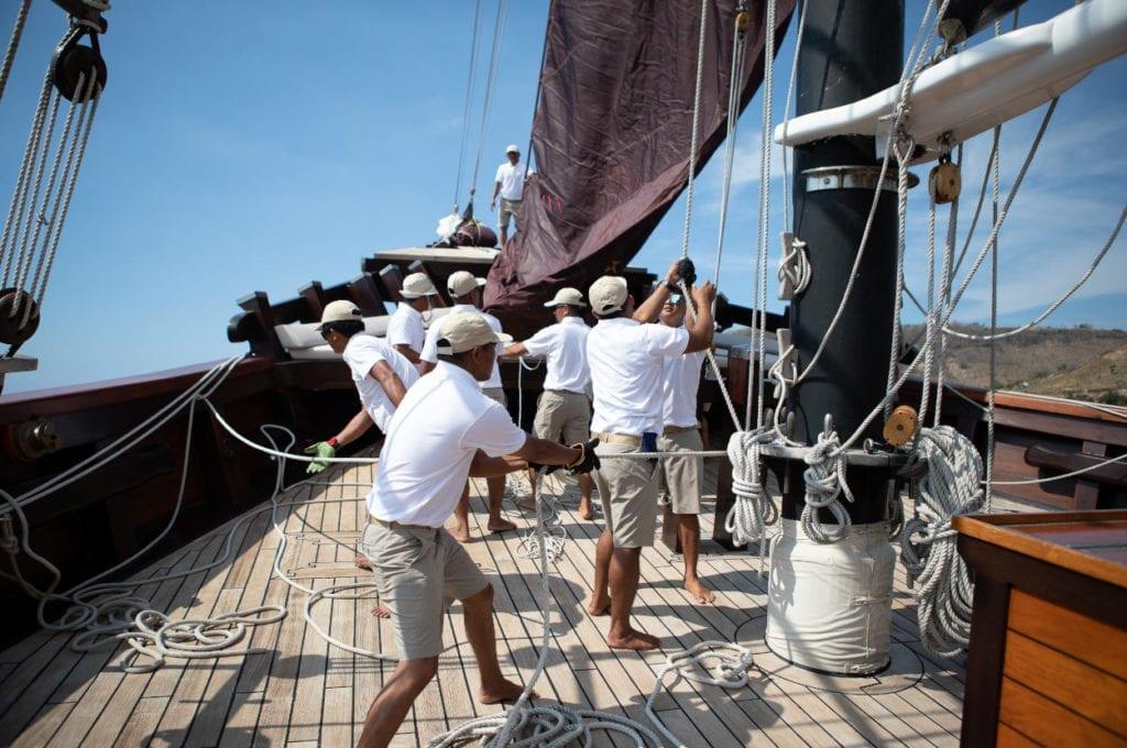 Dunia Baru's crew on deck