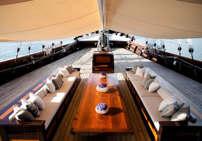 Covered front deck of Dunia Baru yacht