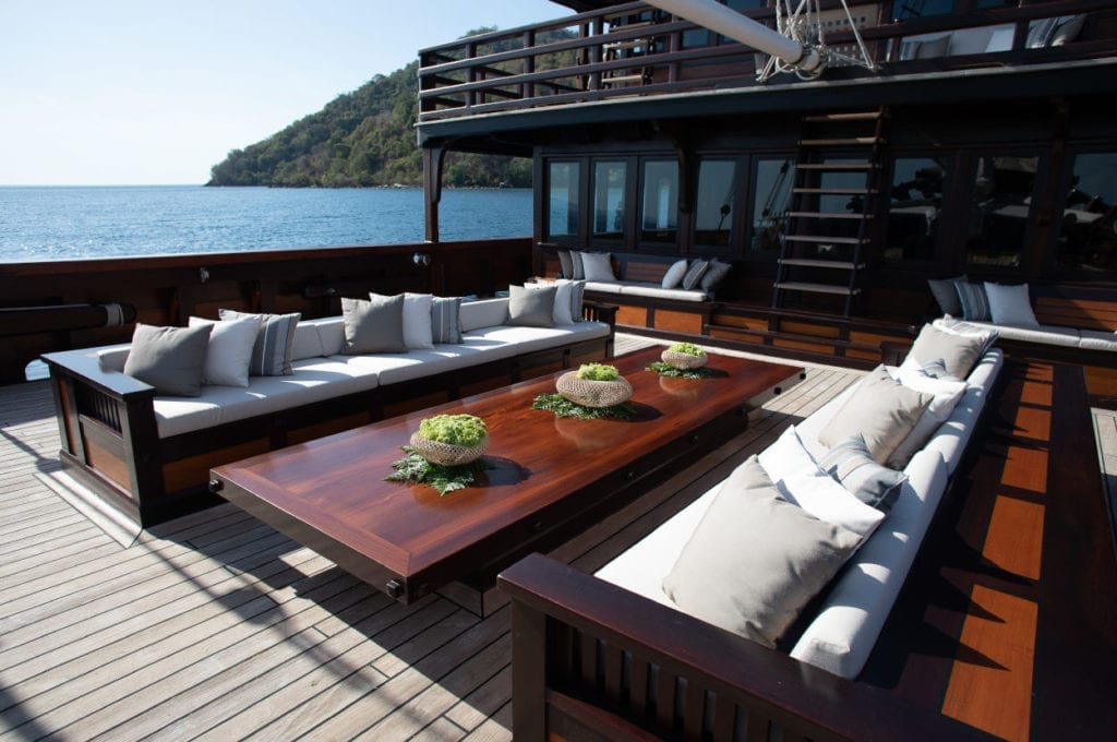 Lounge area on Dunia Baru's front deck