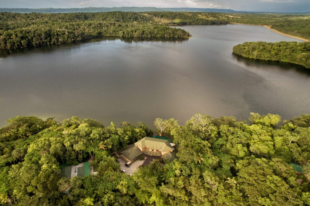 Las Lagunas Aerial View of Lagoon and Jungle Exterior Guatemala