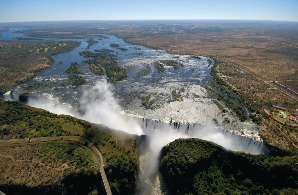 take a helicopter over Victoria Falls for amazing sights