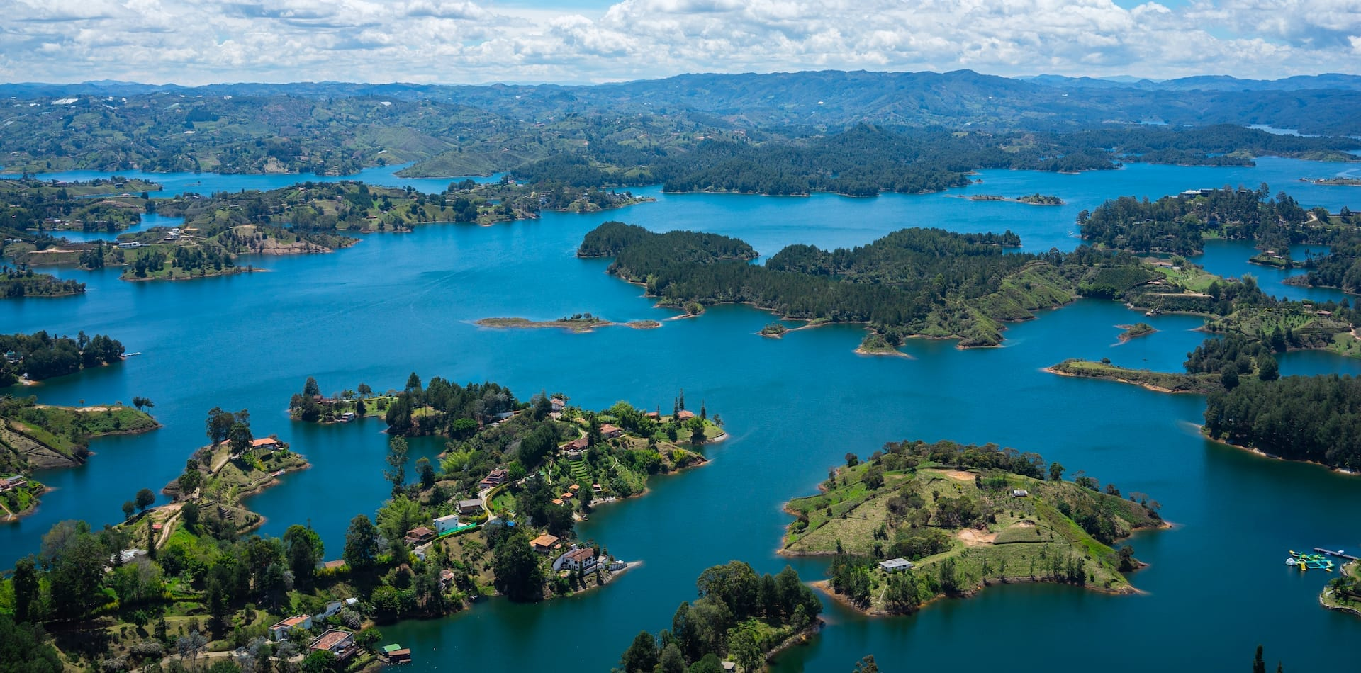 Aerial view over the Guatape islands in Colombia