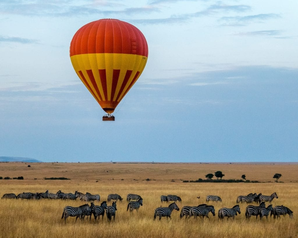Hot air balloon and Zebra, Kenya