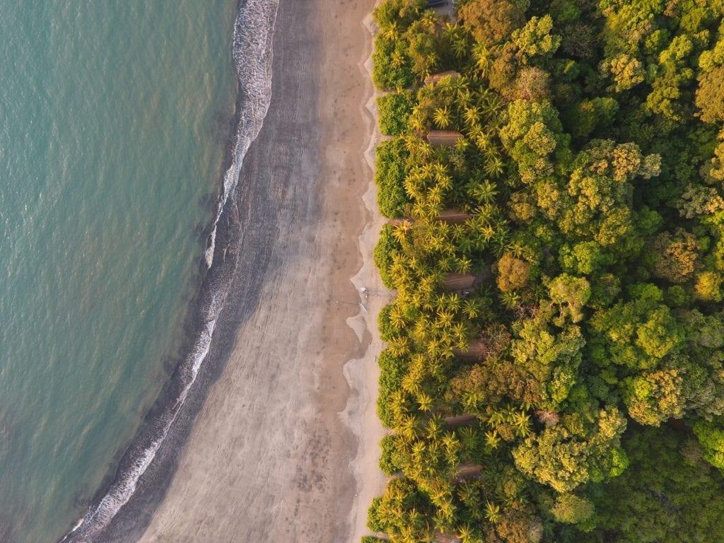 Beach aerial Isla Palenque Panama