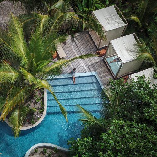 Isla Palenque Panama swimming pool aerial