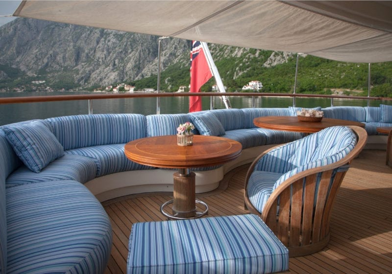 Seating on the deck of luxury yacht Jo