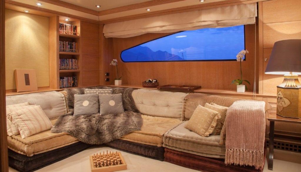 Comfortable sofa area on board Jo