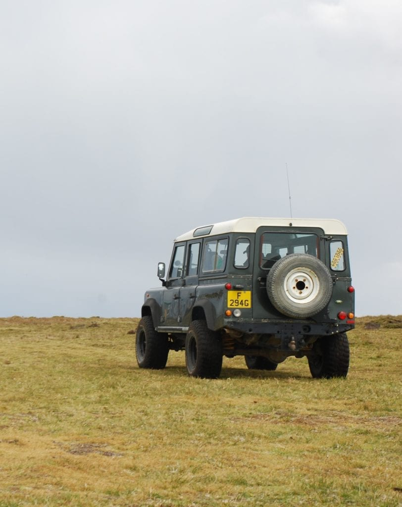 Landrover ahead of thick mist in the Falklands