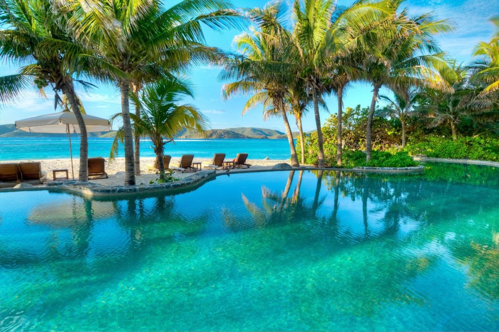 Beach Infinity Pool with Palm Trees Necker Island British Virgin Islands