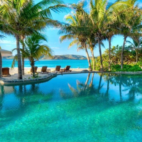 Beach Infinity Pool with Palm Trees Necker Island British Virgin Islands