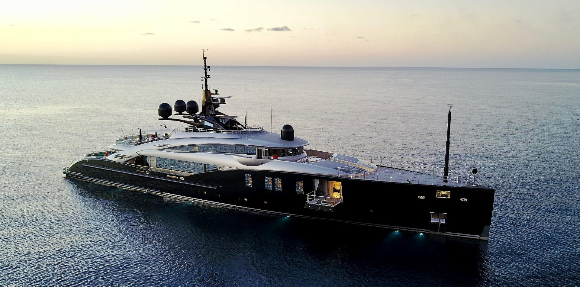Aerial shot of luxury yacht Okto