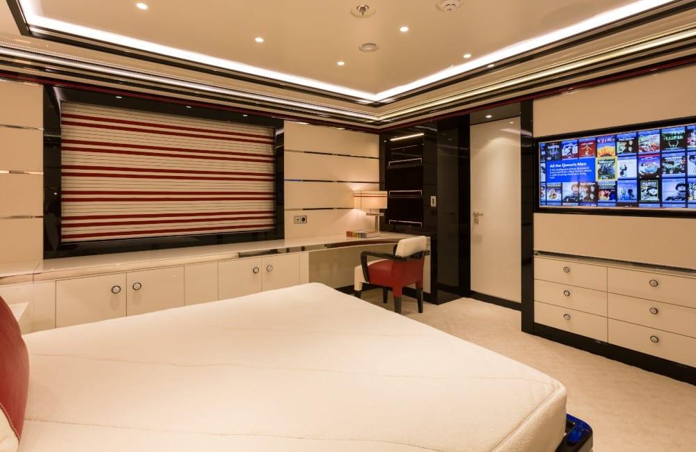 Double bedroom on board luxury yacht, Okto