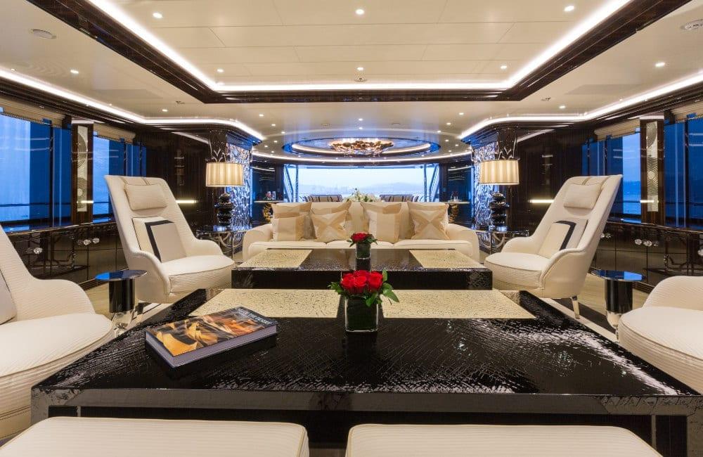 Luxury lounge area on board Okto