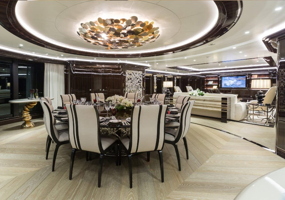 Dining area on board Okto