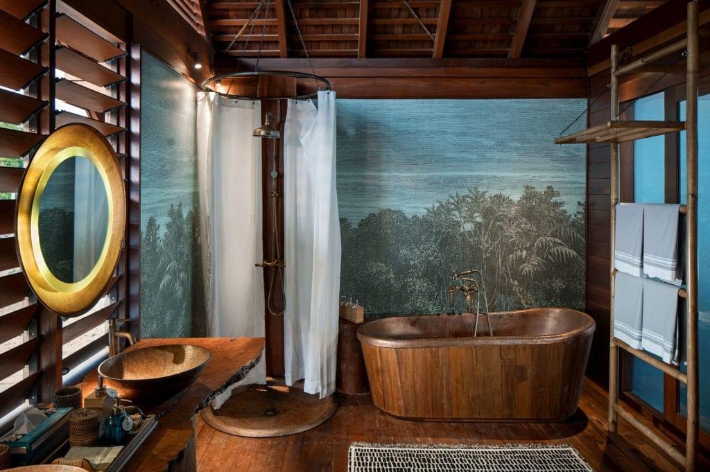 Overwater Suite Copper Bathroom Interior at Bawah Reserve Indonesia
