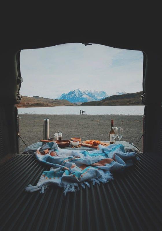 Picnic set up in Patagonia