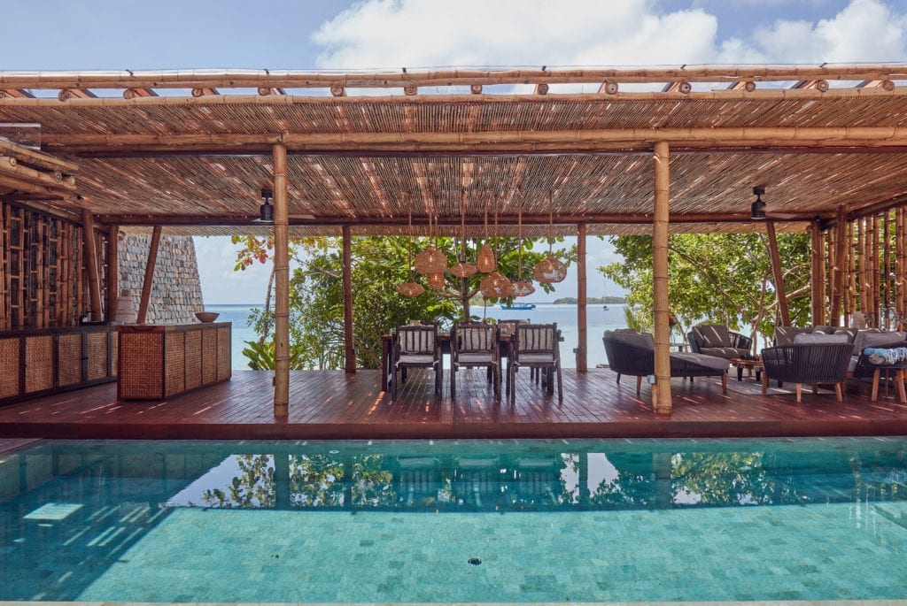 Pool Dining and Living Pavilion at the Two Bed Villa Bawah Reserve Indonesia