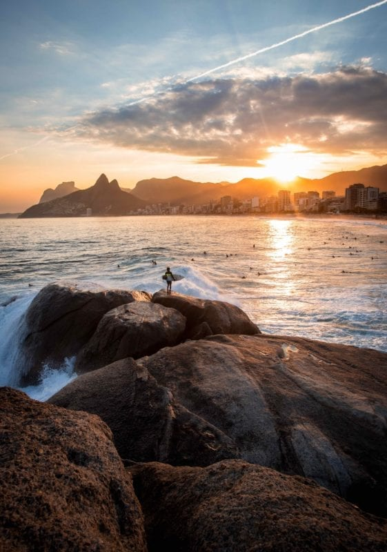 Surfer at the beach in Rio de Jeneiro