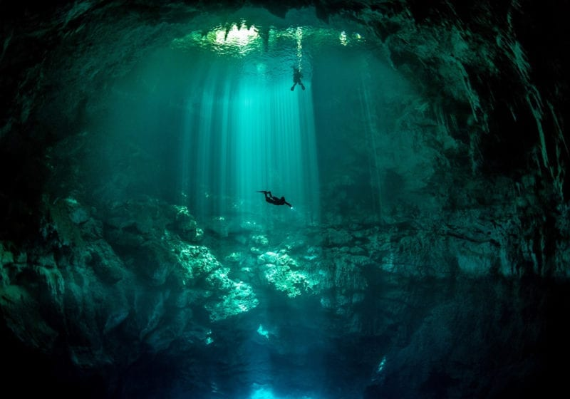 Scuba diving in blue hole in Mexico
