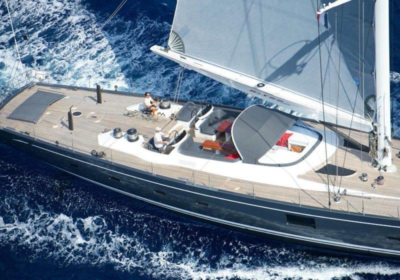 Aerial shot of Silvertip yacht