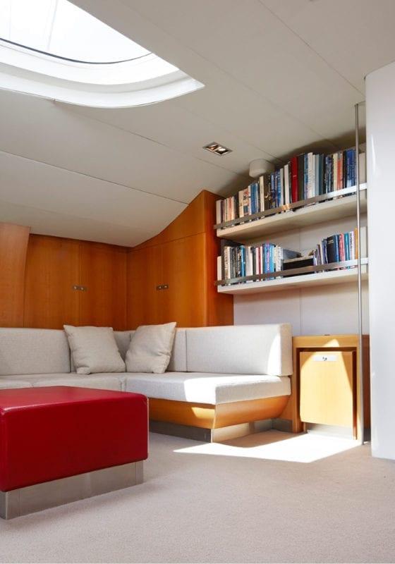 Silvertip's interior lounge with bookshelf
