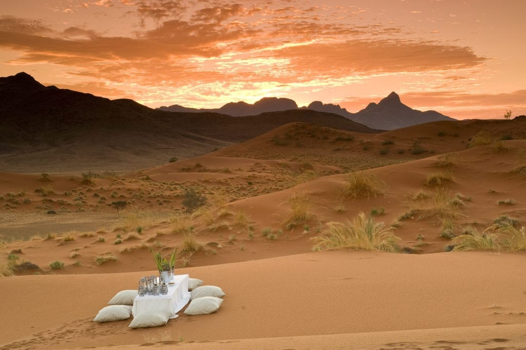 cozy set up for sundowners in the Sossusvlei