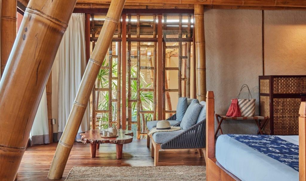 Sofa and Bamboo Walls in Two Bed Villa at Bawah REserve Indonesia