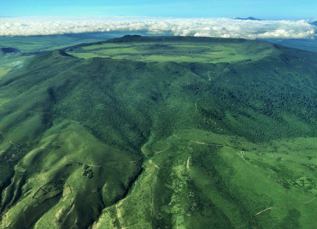 rich vegetation of the Olmoti Volcano crater in the Ngorongoro region