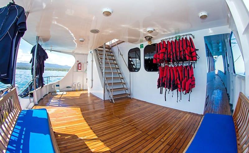 Scuba gear on the yacht deck