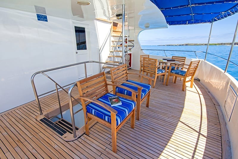 Seating area on the deck of Tip Top IV