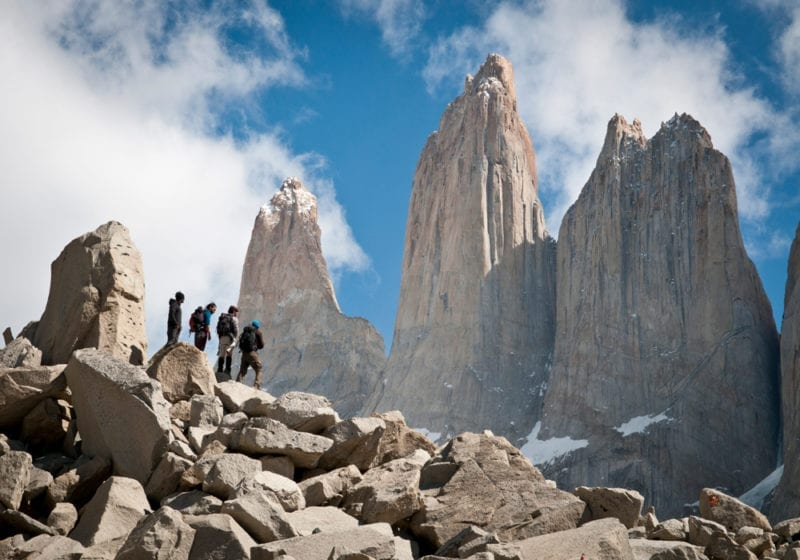Hiking in front of the Torres Del Paine in Patagonia