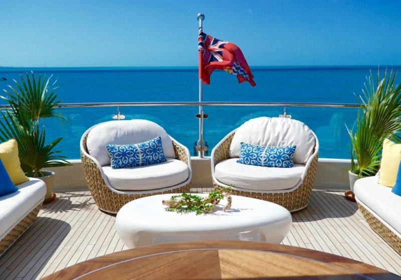 Seating on the deck of Trending