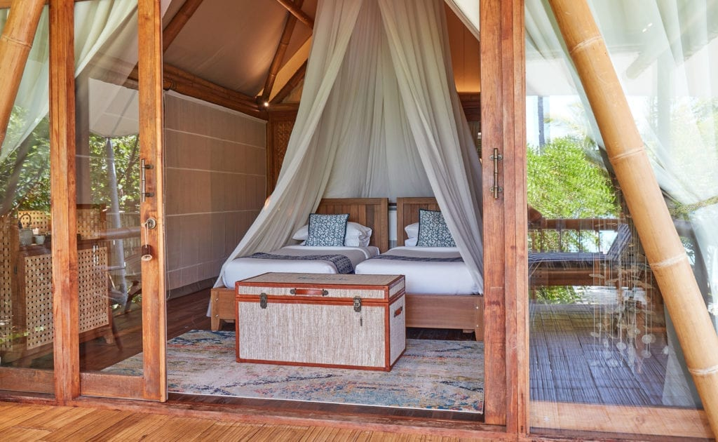 Twin Bedroom View from Doors at the Two Bed Villa Bawah Reserve Indonesia
