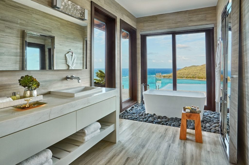 Bathroom with View at Oil Nut Bay British Virgin Islands Caribbean