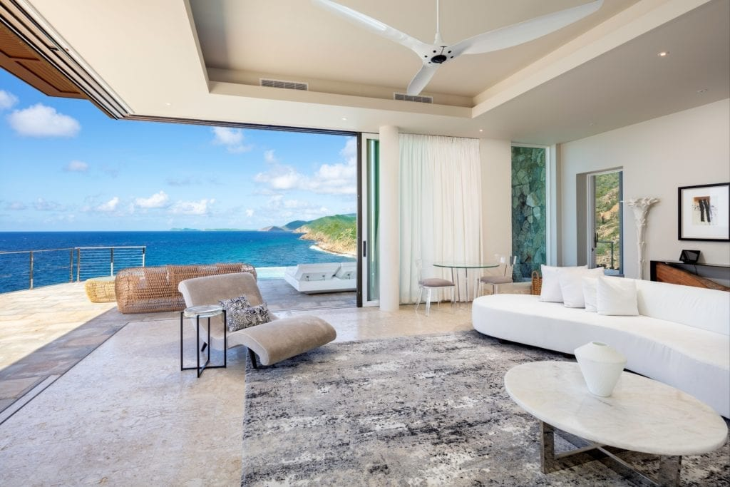 Cliff Suites Living Room interior with Open View Doors Oil Nut Bay british Virgin Islands Caribbean