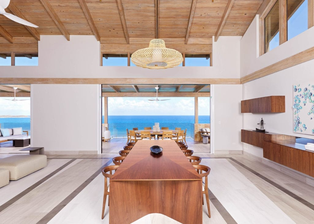 Oil Nut Bay Interior Dining Room and View British Virgin Islands Carbbean