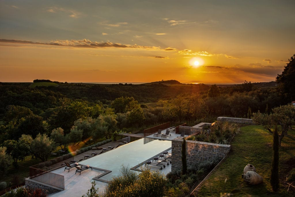 Sunset over Pool and Terrace of San Canzian Croatia