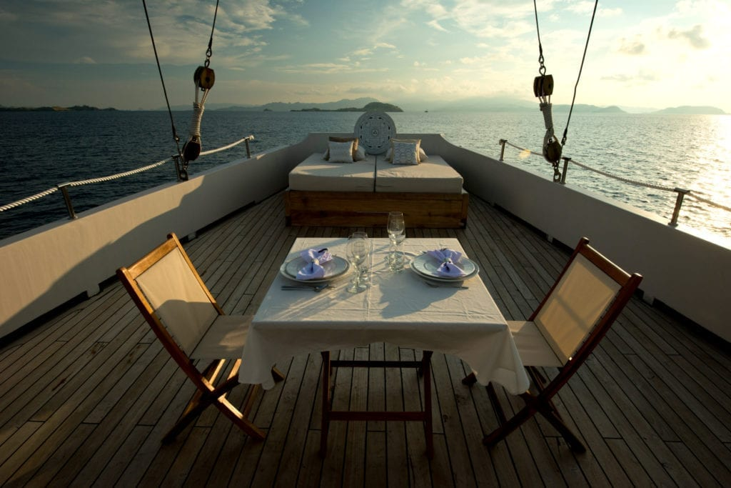 Deck Dining on board Alexa Yacht