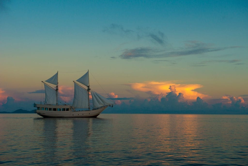 Alexa Yacht Exterior Profile at Sunset